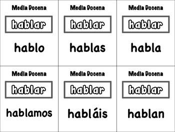 Spanish Regular AR Verbs Card Game, Half Dozen