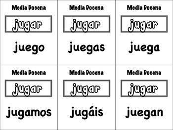 Spanish Stem-Change Verbs (o/u->ue) Card Game, Half Dozen