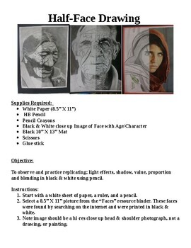 """Close -Up """"Half Face""""  Drawing With Detail Shading From Light Source."""