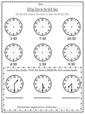 Half Hour Time Worksheet