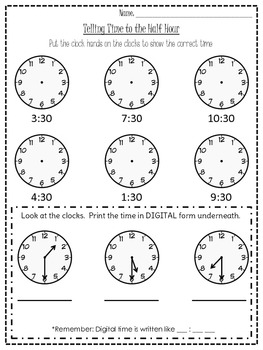 half hour time worksheet by 4th grade crusade teachers pay teachers. Black Bedroom Furniture Sets. Home Design Ideas