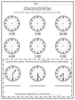 Half Hour Time Worksheet