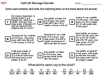 Half Life Problems: Physics Message Decoder: Chemistry