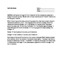 Half-Life Worksheets