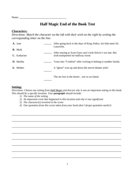 Half Magic End of the Book Test