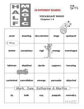Half Magic Vocabulary Bingo