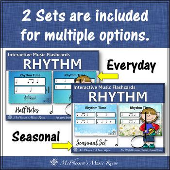 Rhythm Flashcards {Half Notes} Interactive Rhythm Flash Cards