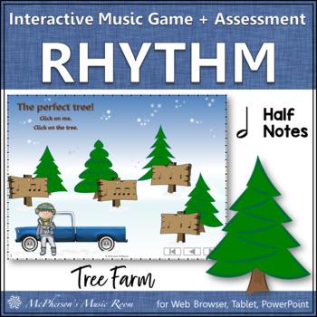 Christmas Music Game: Half Note Interactive Rhythm Game + Assessment {Tree Farm}