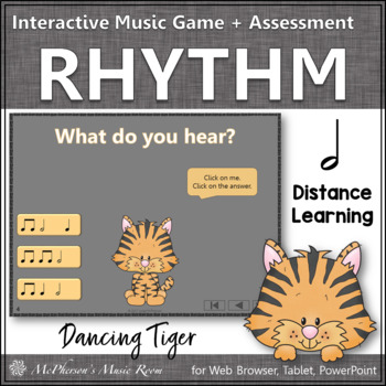 Half Notes Interactive Rhythm Game and Assessment {Dancing Tiger}