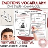 Identifying Feelings and Emotions Vocabulary for Middle and High School