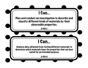 "Half Page 2nd Grade Next Generation Science Standards ""I Can"" Statements"