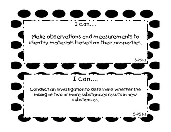 "Half Page 5th Grade Next Generation Science Standards ""I Can"" Statements"