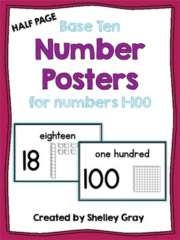 Half-Page Base Ten Number Posters {for numbers from 0-100}
