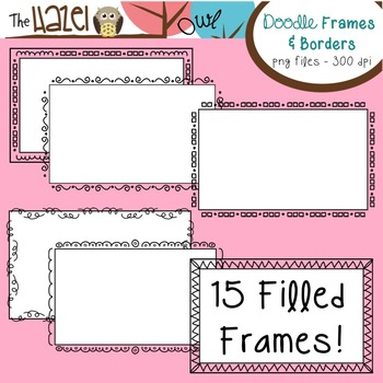 Half Page Doodle Frames & Borders Set: Graphics for Teachers
