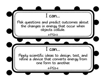 """Half Page """"I Can"""" statements  4th Grade Next Generation Science Standards"""
