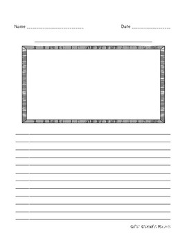 Half-Page Intermediate Picture Frame Writing Paper