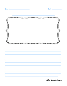 Half Page Intermediate Writing Paper with Picture Frame