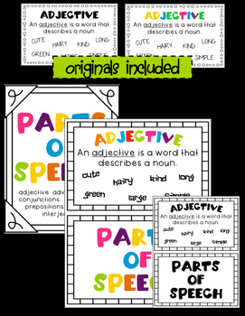 Parts of Speech Posters- Half Page