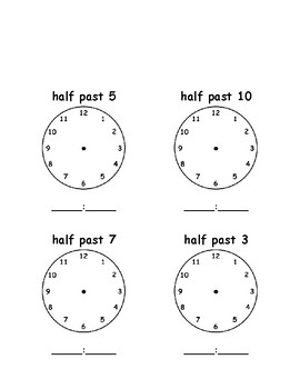 Half Past - Write the Time