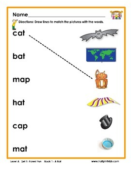 Half-Pint Kids Books Printables for Beginning Readers: Set 1, Book 1 A BAT