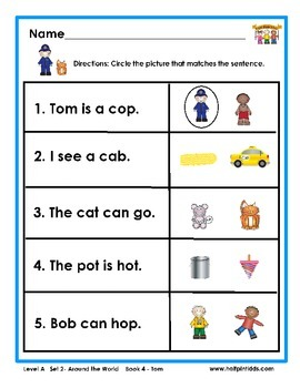 Half-Pint Kids Books Printables for Beginning Readers: Set 2, Book 4 TOM