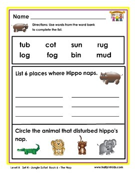 Half-Pint Kids Books Printables for Beginning Readers: Set 4, Book 6 THE NAP