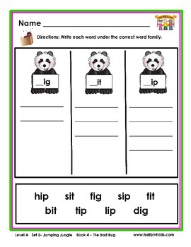 Half-Pint Kids Books Printables for Beginning Readers: Set 5, Book 4 THE BAD BUG