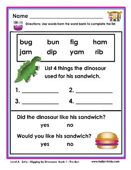Half-Pint Kids Books Printables for Beginning Readers: Set 6, Book 1 THE BUN