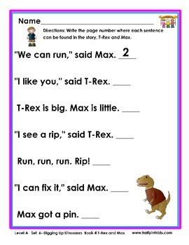 Half-Pint Kids Books Printables for Beginning Readers: Set 6, Book 4 T-REX & MAX