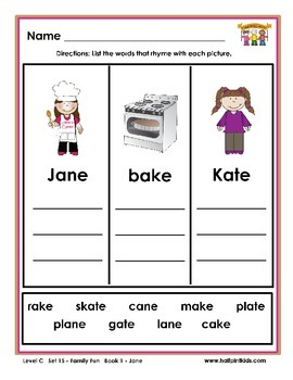 Half-Pint Kids Printables for Beginning Readers Set 15 Book 1 Jane