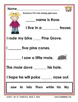Half-Pint Kids Printables for Beginning Readers Set 15 Book 3 Rose