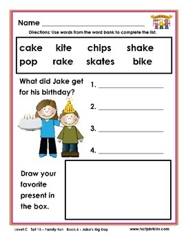 Half-Pint Kids Printables for Beginning Readers Set 15 Book 6  Jake's Big Day