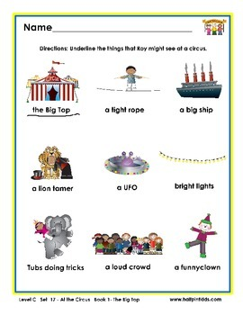 Half-Pint Kids Printables for Beginning Readers Set 17 Book 1 The Big Top