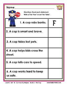 Half-Pint Kids Printables for Beginning Readers Set 18 Book 3 The Cop
