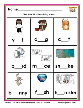 Half-Pint Kids Printables for Beginning Readers Set 18 Book 4 The Vet