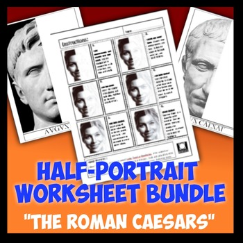 "Half-Portrait Worksheet Bundle ""Roman Caesars"""