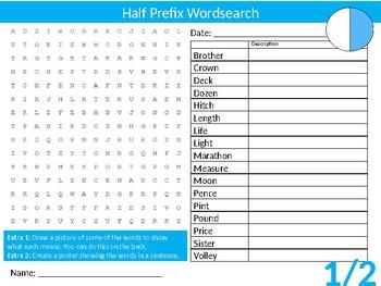 Half Prefix Wordsearch Sheet Cartoon Starter Activity English Vocabulary