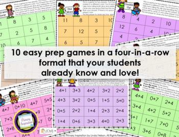 First Grade Addition Four-in-a-Row Games