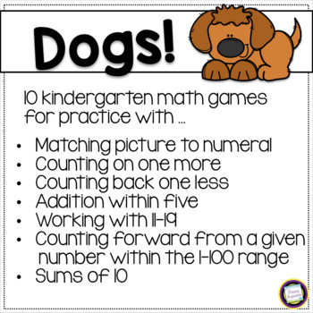 Dogs Classroom Theme Math Games and Manipulatives