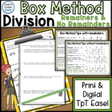 Division Using Box Method or Area Model Activities Print and Digital TpT Easel