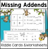 Missing Addend Math Logic Task Cards