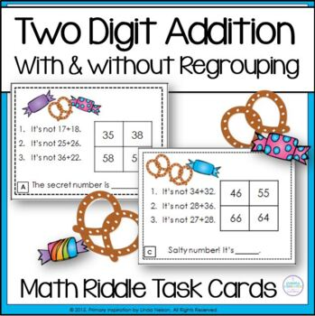 Two-Digit Addition With & Without Regrouping Math Logic Task Cards