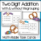 Two-Digit Addition With & Without Regrouping Math Riddle Task Cards
