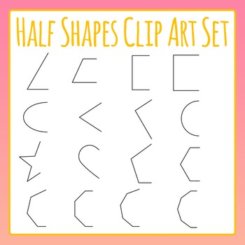 Half Shapes - Geometry and Symmetry Clip Art for Commercial Use