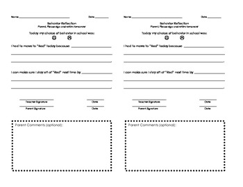 Half Sheet Behavior Reflection