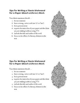 Half-Sheet Handout: Tips for Writing a Thesis Statement for a Literary Essay