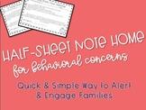 Half-Sheet Note Home For Behavioral Concerns