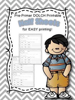 Half Sheet Printables~Pre Primer DOLCH Sight Words
