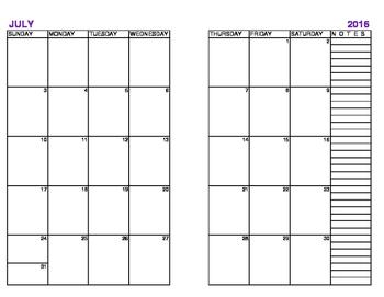 Half Size Calendar Pages