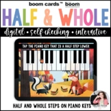 Half Steps and Whole Steps on the Piano Keys Boom Cards™ f